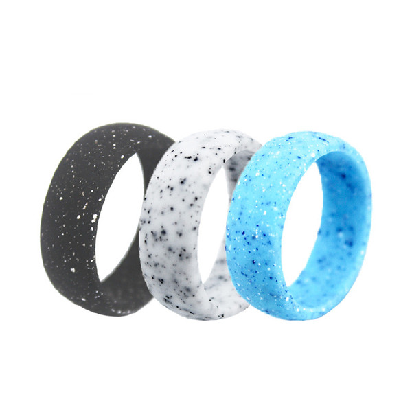 Men Silicone Rings Modern White Granite 8.7mm Band Soft Flexiable Silicone Wedding Band Rings Sports Gym Outdoor Couple Rings Gift