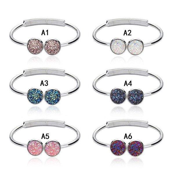 Braccialetti di Polsino Druzy di alta qualità Rotondi Geode naturale Strass di pietra Pavimenta Drusy Braccialetti di filo espandibile per gioielli di moda donna