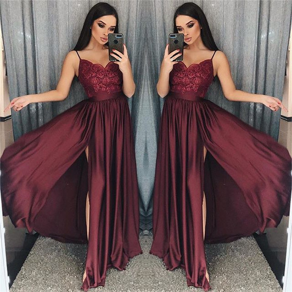 2019 Maroon Spaghetti Straps Prom Dresses Lace Appliques A Line Sexy Side Split Elastic Stain Like Silk Formal Occasion Evening Dresses