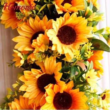 50cm Simulation Sunflower Wreath Holiday Headwear Fake Flower Artificial Flowers Festival Party Decoration Valentine's Day Gift