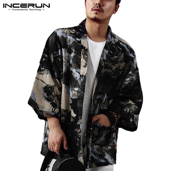 INCERUN Men Trench Coat Chinese Style 3/4 Sleeve Cotton Floral Print Men Outerwear Vintage Kimono Cardigan Thin Jacket S-5XL