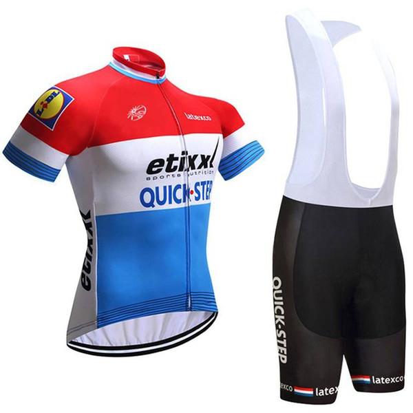 Ropa Ciclismo Radtrikot Set Team QUICK STEP Herren Sommer Kurzarm Bike Outfits Schnelltrocknend Outdoor Fahrrad Sportswear Y071603