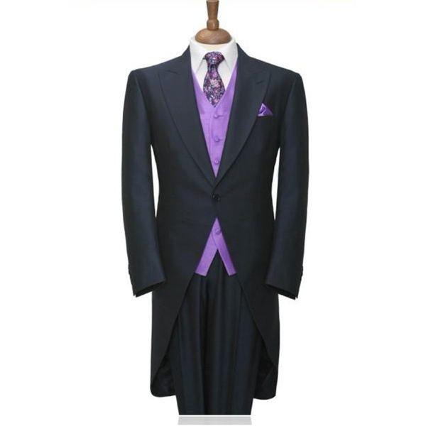 Custom Made Men's Suits Morning Style Groom Tuxedos Navy Blue Groomsmen Men Wedding Suits(Jacket+Pants+Tie+Waistcoat)H111