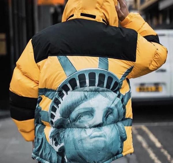 19FW THENF X BOX LOGO della Statua della Libertà Baltoro Piumino inverno dei cappotti caldi tuta sportiva di modo esterno degli uomini Donne HFLSYRF093