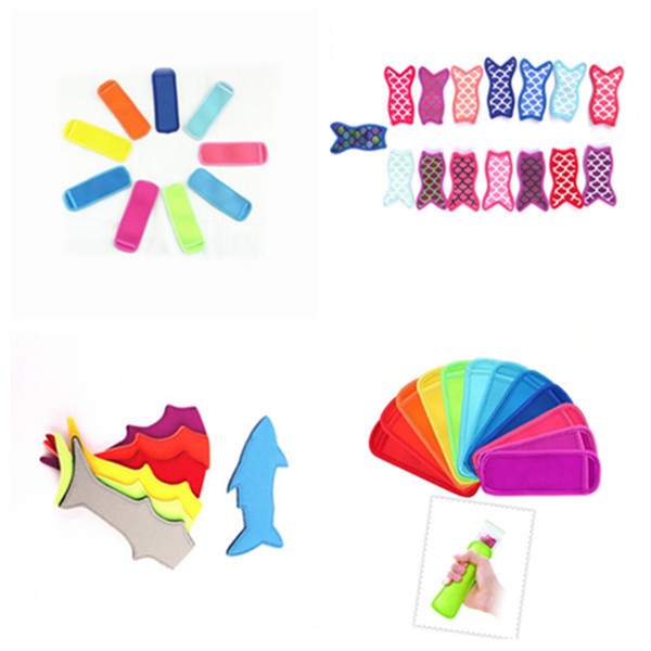 best selling Hot 7 style mermaid shark Popsicle anti-freeze bag colorful ice cream insulated bag diving materials Ice Cream Tools T2I5016