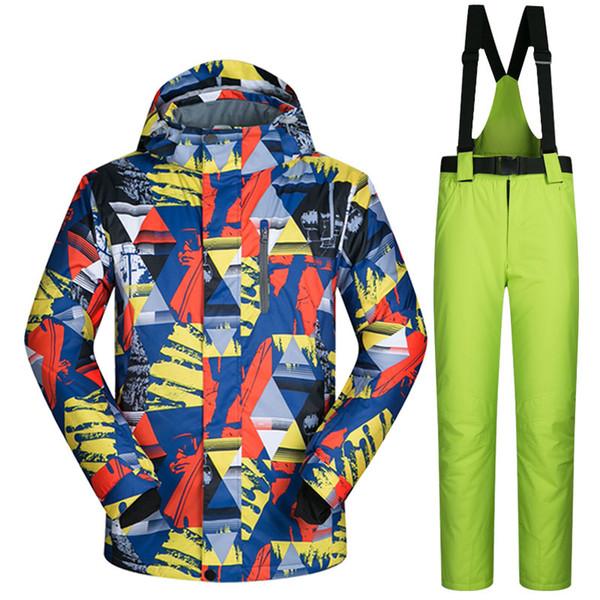 Uomo Ski Suit Marchi antivento impermeabile calda addensare giacche da sci e neve pantaloni Imposta Inverno Sci e Snowboard Suits T190920