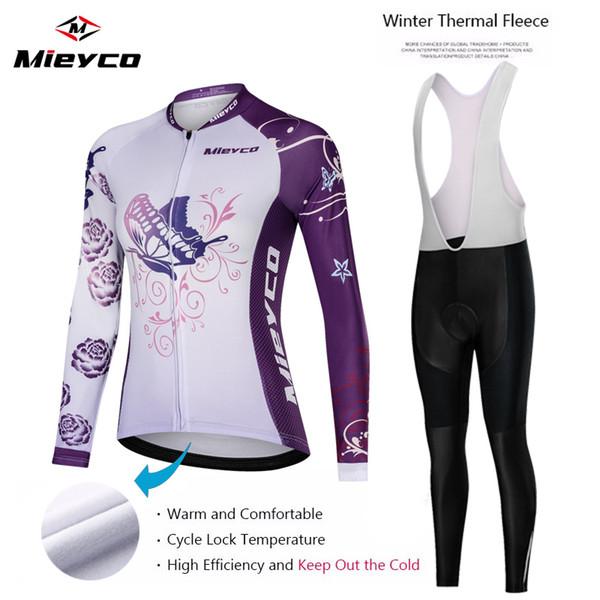여성 겨울 열 양털 사이클링 저지 설정 산악 자전거 유니폼 긴 소매 사이클링 자전거 의류에 대한 여성