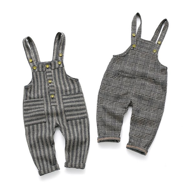 Spring Autumn Children's Clothes Girls Cotton Casual Plaid and Striped Baby Boys Overalls for Toddler Kids Jeans Korean Trousers