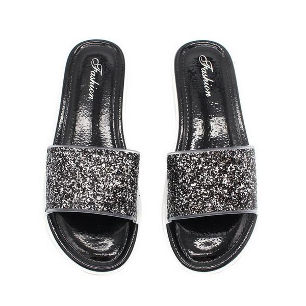 Laamei Bling Sommer Frauen Slides Hausschuhe Strand Flip Flops Sexy Offene Zehe Slides Weibliche Mode Glitter Sandalen Splitter Gold Flops