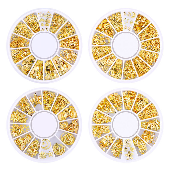 top popular DHL hot New Gold Metal Mixed Design Hollow Studs Nail Rivets Stars bells christmas Snowflake Manicure 3D Nail Art Decoration 2021