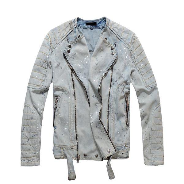 2018 Мужская мода джинсовая куртка мода джинсы куртки Slim fit повседневная уличная Винтаж мужская джинсовая одежда