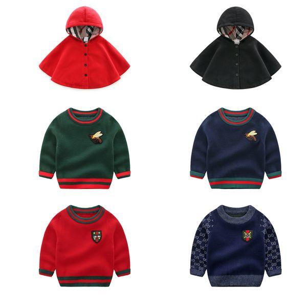 Baby Boy Warm Sweater Niñas Sólido 100% Algodón Otoño Invierno Chal con capucha Ropa de diseñador para niños Boy Striped Long Sleeve Wool Sweater 06