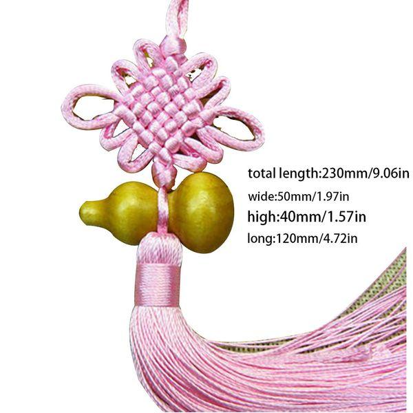 Creative Handmade Silky Chinese Knot Peach Wood Gourd Tassel Car Hanging Ornaments Home Decoration Festivals Supplies