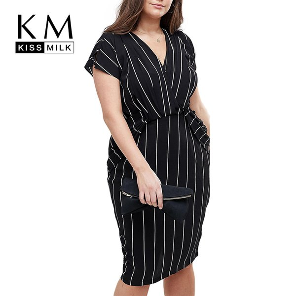Kissmilk Plus Size Women Summer Vertical Stripe Wrap V Neck Ruffles Short Sleeve Bodycon Office Lady Midi Dress T4190608
