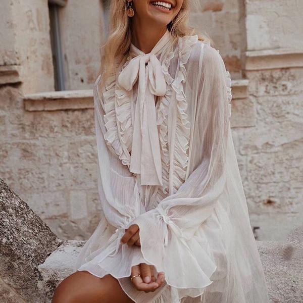 Ruffles Dress Women Bowknot Lace Up Flare Long Sleeve Abiti larghi Donna 2019 Stile coreano Primavera Fashion Nuovo