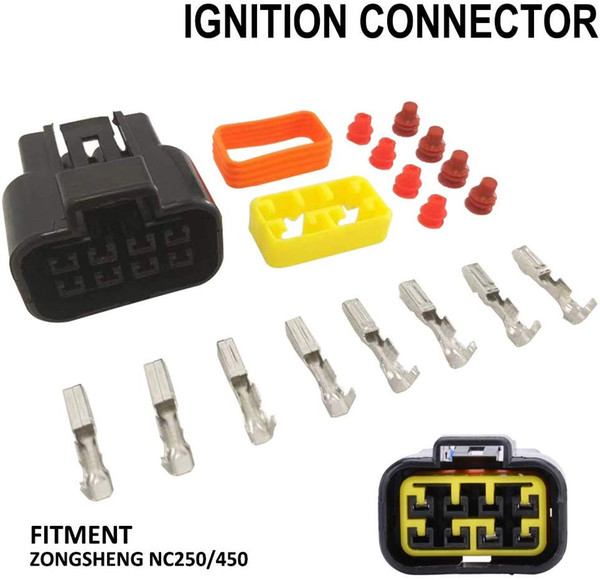 8 Needles Ignition Coil Connector Pigtails Repair Kit Harness Wiring Plug for ZONGSHEN NC250 NC450 Motorcycle