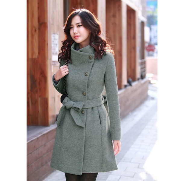 Nouvellement Lady Girls Fashion Style coréen Slim hiver Noble Long Trench Coat VK-ING
