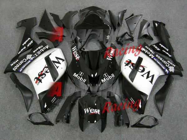 Neue ABS Motorrad Verkleidungs-Kits passen für Kawasaki Ninja ZX6R 636 2007 2008 07 08 6R 600CC Karosserie-Set Verkleidung Gewohnheit schwarz West