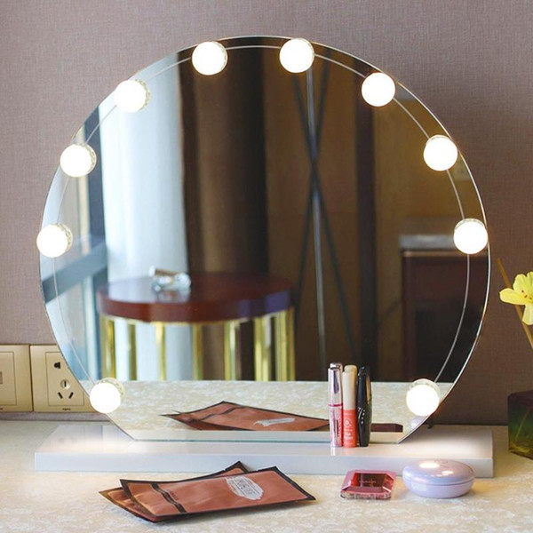 Makeup Mirror Led Light Bulbs Kit 10 Led Makeup Mirror Lights String Usb Charging Dressing Table Bulbs Kit Oval Mirror Vanity Mirrors From