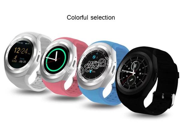 Paquete al por menor colorido Y1 Relojes deportivos inteligentes para Android Smartwatch Samsung teléfono celular reloj bluetooth para apple iphone Huawei Xiaomi