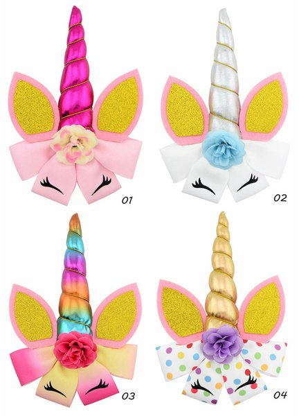 Unicorn hair bows girls hair clips flower kids barrettes birthday party baby BB clips princess designer hair accessories for kids A6534