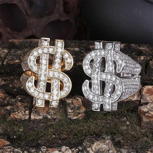 Hip Hop Anneaux Bijoux De Mode Unisexe Glaring Bling Zircon Pavé Cluster Anneaux En Gros 18K Plaqué Or Signe Dollar Cluster Anneaux LR107