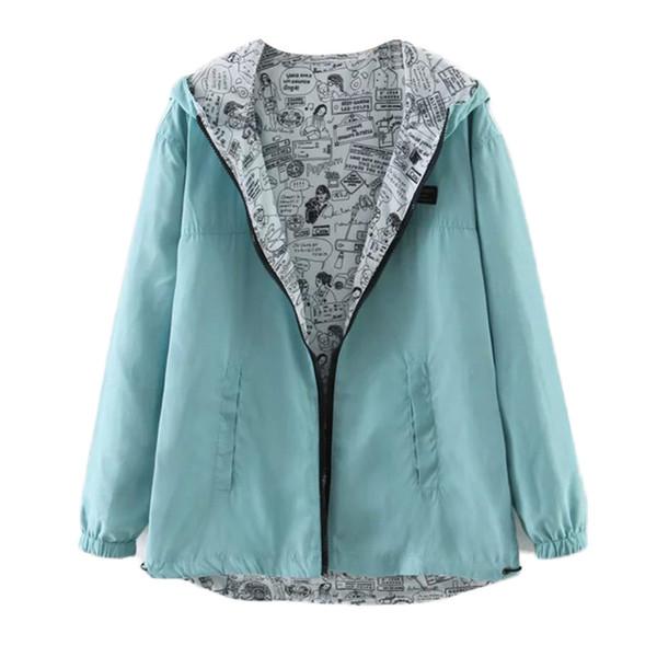 Giacca da donna Harajuku Giacca con cappuccio tinta unita Stampa Cappotto manica lunga Autunno Tasche con coulisse Giacche casual outwear