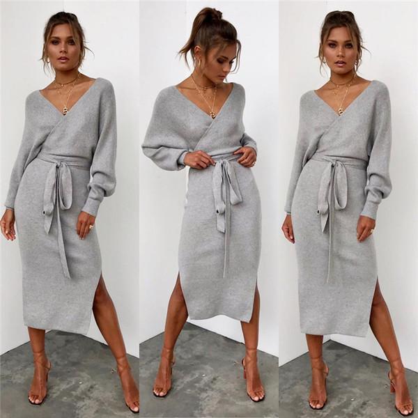 Sıcak Satış Kadın Moda Seksi V yaka Uzun Kollu Elbise Kış BODYCON Akşam Parti Elbise Clubwear Bölünmüş Casual Giyim vestidos