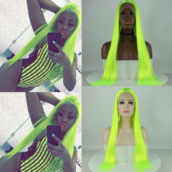 Uzun Yeşil Peruk için Cadılar Bayramı Isıya Dayanıklı Fiber Sentetik Dantel Açık Saç Peruk İçin Cosplay Floresan renk