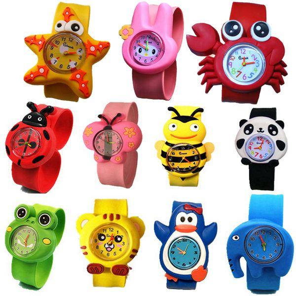 Mode kinder kinder 3D cartoon niedlichen tier klapsportuhren großhandel jungen mädchen süßigkeiten gelee geburtstagsgeschenk armbanduhren