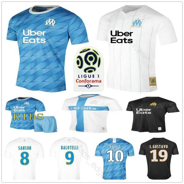 2019 2020 l'Olympique de Marseille maglie calcio OM BENEDETTO SANSON L.GUSTAVO PAYET THAUVIN personalizzata 19 20 Uomo Donna Bambini Football Shirt