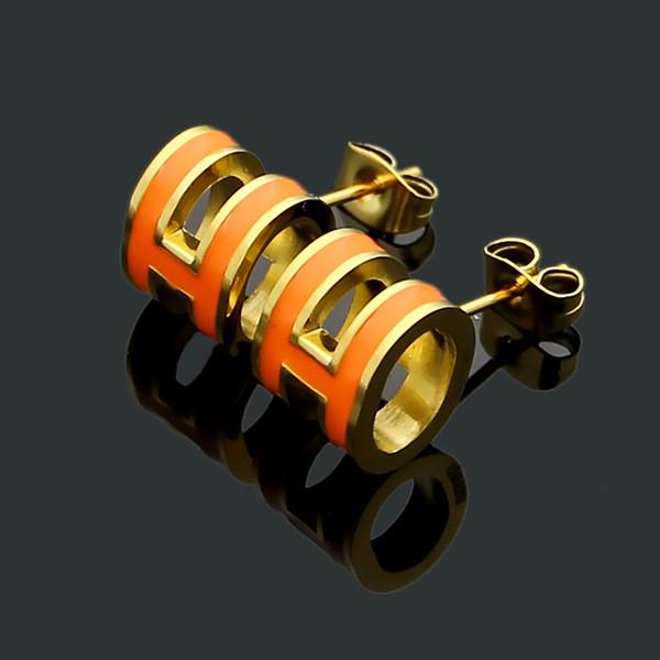 Nouvelle marque Hot vente marque en acier inoxydable 316L Dripping huile boucle d'oreille noir / blanc / rouge / orange / rose pour mère femmes boucle d'oreille amoureux des bijoux cadeau