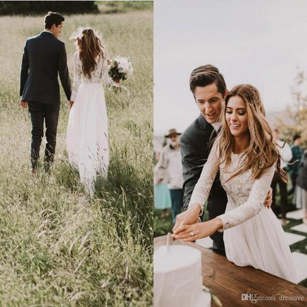 2019 Nova Elegante Sheer Vestidos de Casamento A Linha de Volta Oco de Manga Longa Trem Da Cauda Rendas Vestidos de Noiva País Boêmio Estilos