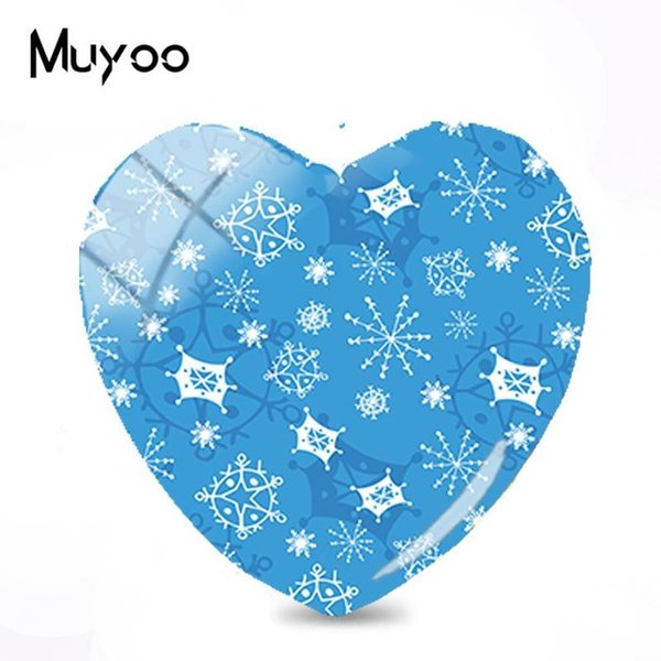 2019 New Snowflake Pattern Art Glass Dome Cabochon Snowflakes Heart Cabochons Hand Craft Photo Jewelry For Women