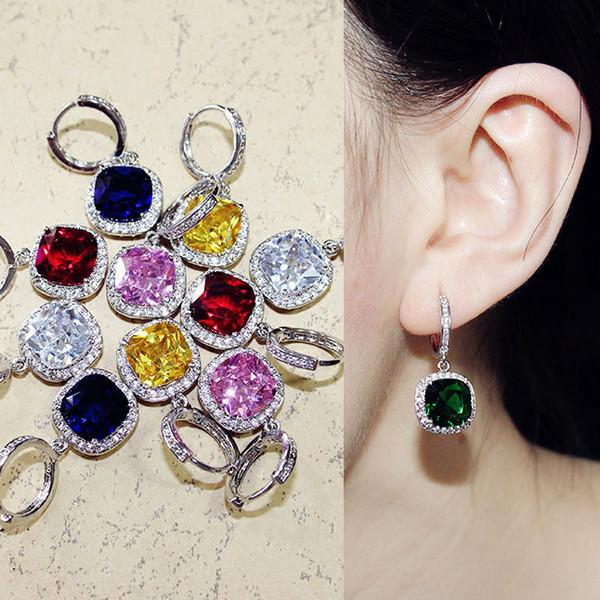 Sparkling Fashion Square Big Green Royal Blue Red Pink Yellow Stone Drop Earrings Princess-cut Cubic Zirconia Women Jewelry C19041101