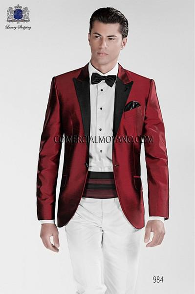 Kırmızı / Mor / Mavi Damat Smokin Siyah Yaka Erkek Düğün Smokin Moda Erkek Ceket Blazer Erkek Akşam Yemeği / Darty Suit Custom Made (Ceket + Pantolon + Kravat) 92