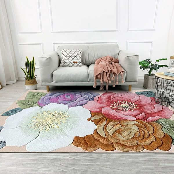 Colorful 3D Flowers Printed Living Room Large Area Rugs Sofa Coffee Table  Balcony Floor Mat Bedroom Bedside Non Slip Carpets Carpets N Carpets ...