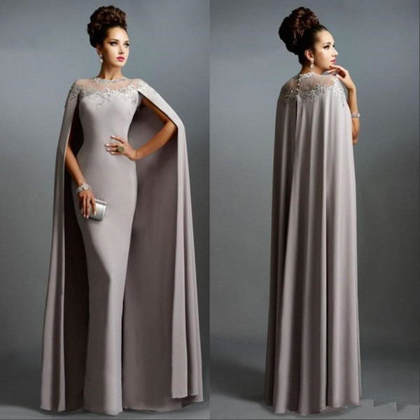 2020 New Vintage Formal Sheath Evening Dresses with Long Cape Lace Mother of the Bride Formal Party Plus Size Prom Gowns 708