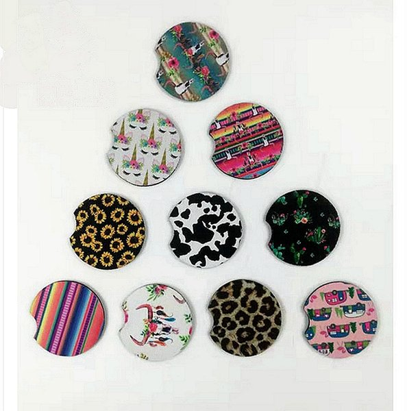 Car Coasters Sports Neoprene Car Cup Mugs Mats Car Cup Holder Party Favor Christmas Gift 16 Designs Free Shipping YW2620