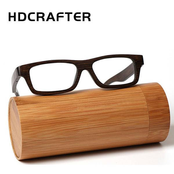 c5828d20c96 HDCRAFTER Real Bamboo Wooden Vintage Optical Glasses Frame for men women  Woodblack Square Myopia Eyeglasses Frames de grau
