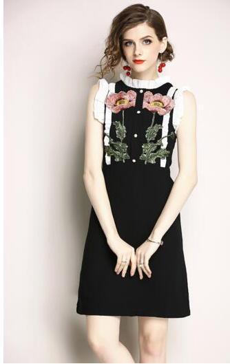 Европейские женщины лето дикая мода новый тонкий платье без рукавов с вышивкой