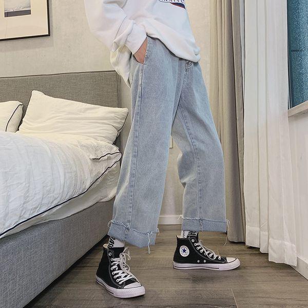 Fashion-2019 Männer Baggy Homme Wide Leg Hose Cargotasche Jeans Fashion Trend beiläufige Hosen Freizeit Cowboy Mens blaue Farbe Hose
