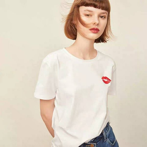 Brand Women Fashion T-shirt with Red Lips Women High Quality Top Tees Fashion Summer Clothes for Women Solid Color Size S-XL
