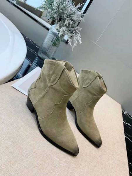 Новая лучшая дизайнерская обувь высшего качество матовой кожи лицо ретро классические сапоги низкий каблук указали случайные дама партии моды сапог 35-40
