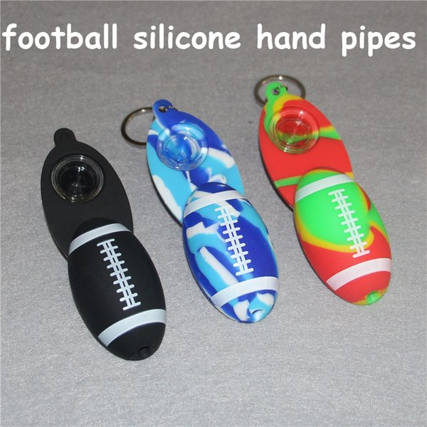 Keychain Football Shape Mini Silicone Smoking Pipes with screw lid Hand Tobacco Cigarette Pipes Silicone Hand Pipes