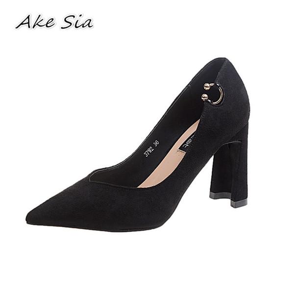 Дизайнер платье обувь 2019 весна новая мода указал толстые с высокими каблуками женщины сексуальная мелкий рот простой y05