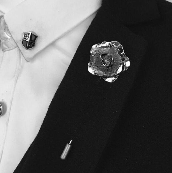 Atacado-Bovvsky ouro prata rosa preta Flor broche Pin homens terno acessórios pinos de lapela para terno de festa de casamento dos homens longa Pin broche