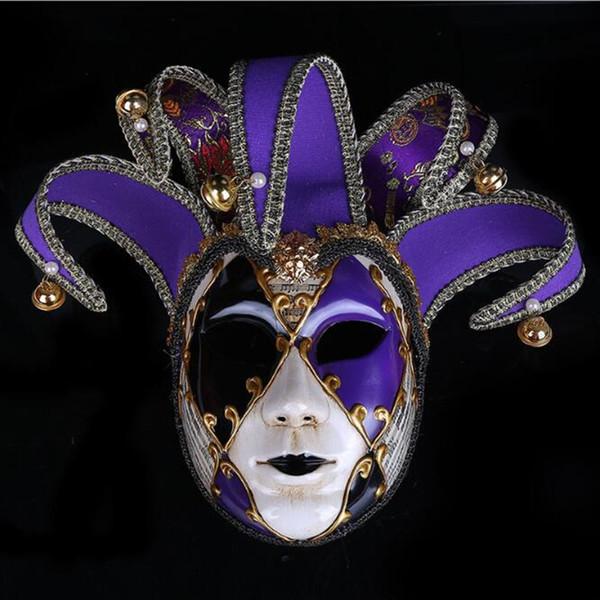 Erkekler Kadınlar Tam Yüz Venedik Kumaş Nakış Masquerade Tiyatrosu Jester Maskeleri Parti Topu Tüketin