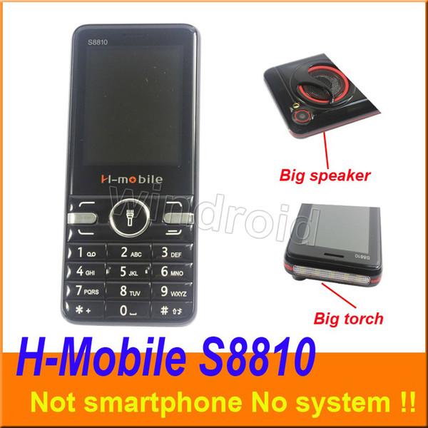 2,8 pouces H-mobile S8810 Mobile Pas de téléphone intelligent 2G Débloqué Quad Band Camera Grande Lampe de poche haut-parleur de la lampe de poche quoi de téléphone portable moins cher DHL