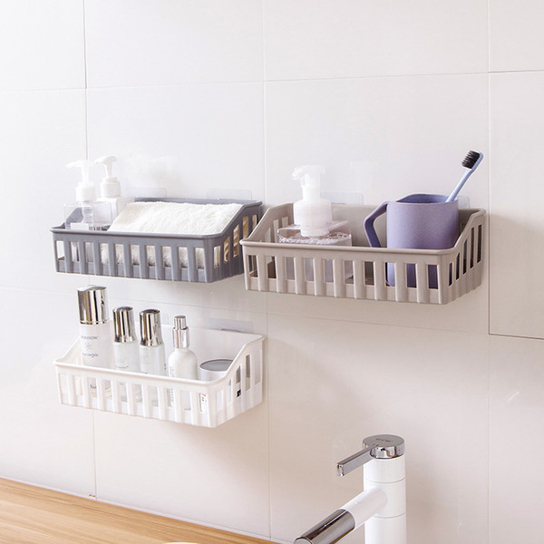 Creative Rectangular Non-marking Wall-mounted Hollow Kitchen Storage Basket Bathroom Cosmetics Facial Milk Shelf